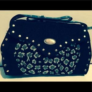 Handbags - Black with Leopard Design Bag